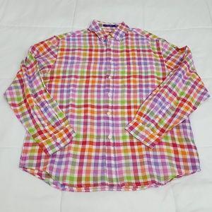 Alan Flusser Casual Shirt Mens Medium Multicolor